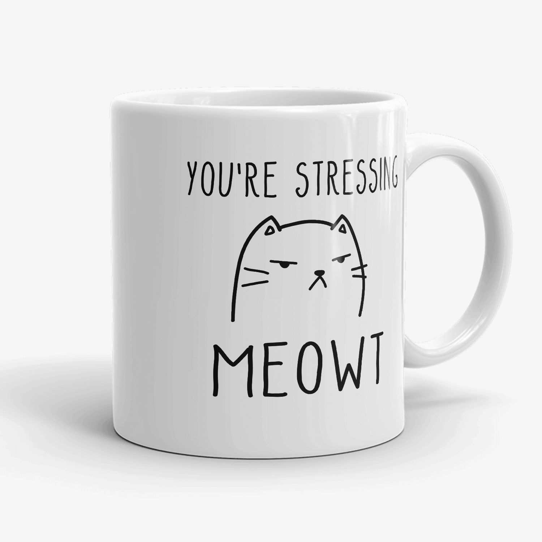 Printed Mug Grey Cute Cat Rawr I/'m Dangerous