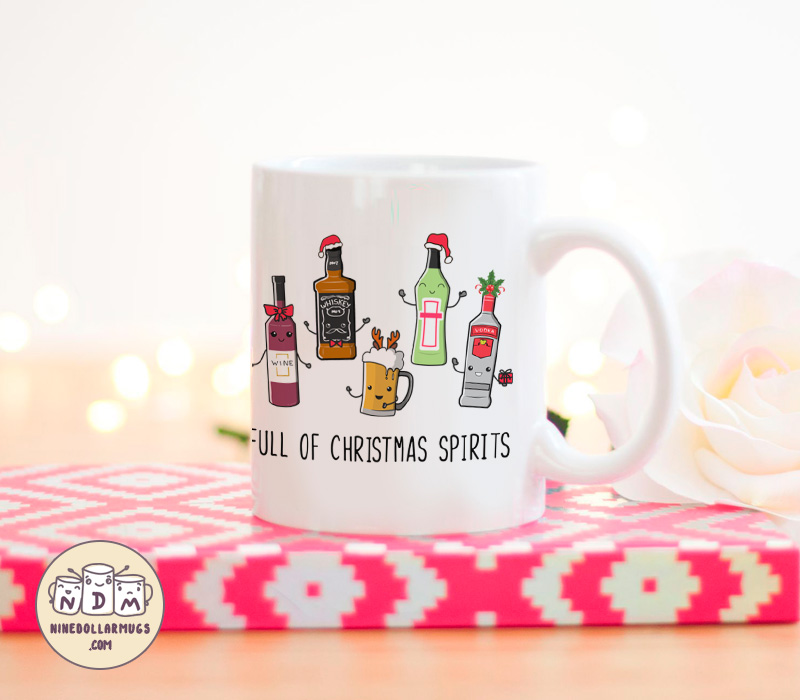full of christmas spirits funny punny mug christmas gift for drinking lover photo