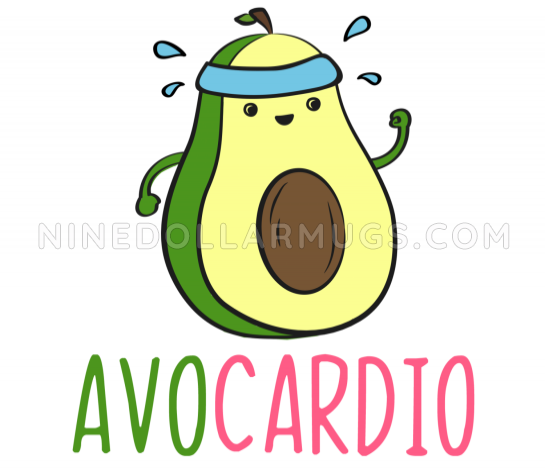Avocardio - Funny Running Avocado Gift for Runner Travel Mug - Design Sample